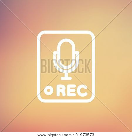 Recording station sign icon thin line for web and mobile, modern minimalistic flat design. Vector white icon on gradient mesh background.