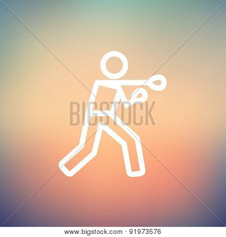 Boxing man punch icon thin line for web and mobile, modern minimalistic flat design. Vector white icon on gradient mesh background.