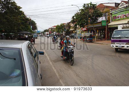 Busy Street In Siem Reap, Cambodia