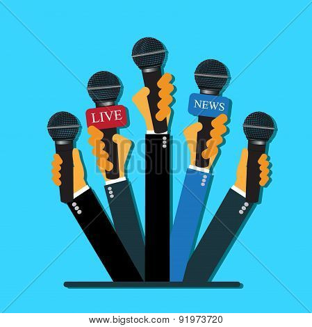 live report concept, live news, hands, journalists, microphones, flat style, vector web design and i