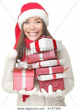 Christmas Woman Carrying Gifts