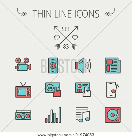 Multimedia thin line icon set for web and mobile. Set includes - speaker volume, notes, knob for volume, equalizer, television, cassette player, newspaper, phonograph icons. Modern minimalistic flat
