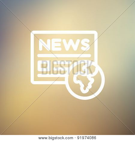 Global news icon thin line for web and mobile, modern minimalistic flat design. Vector white icon on gradient mesh background.