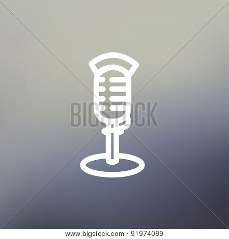 On air microphone icon thin line for web and mobile, modern minimalistic flat design. Vector white icon on gradient mesh background.