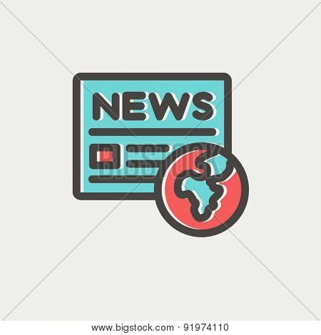 Global news icon thin line for web and mobile, modern minimalistic flat design. Vector icon with dark grey outline and offset colour on light grey background.