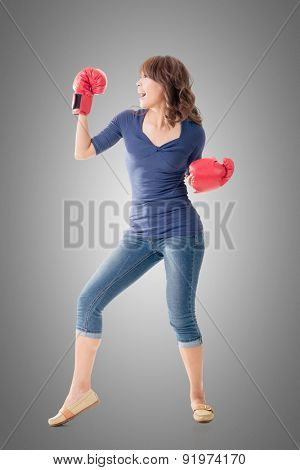 Fighting girl concept, rear view full length portrait of Asian isolated.