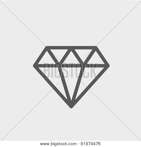 Dazzling diamond icon thin line for web and mobile, modern minimalistic flat design. Vector dark grey icon on light grey background.