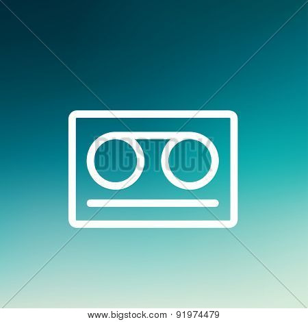 Cassette tape icon thin line for web and mobile, modern minimalistic flat design. Vector white icon on gradient mesh background.