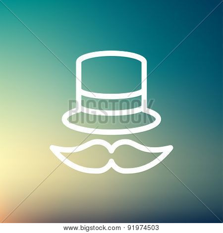 Vintage fashion hat and mustache icon thin line for web and mobile, modern minimalistic flat design. Vector white icon on gradient mesh background.