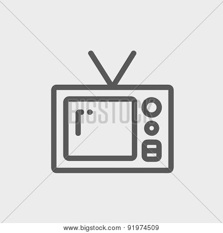 Vintage television icon thin line for web and mobile, modern minimalistic flat design. Vector dark grey icon on light grey background.
