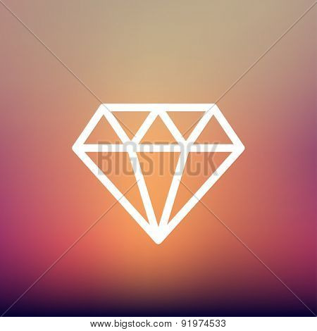 Dazzling diamond icon thin line for web and mobile, modern minimalistic flat design. Vector white icon on gradient mesh background.