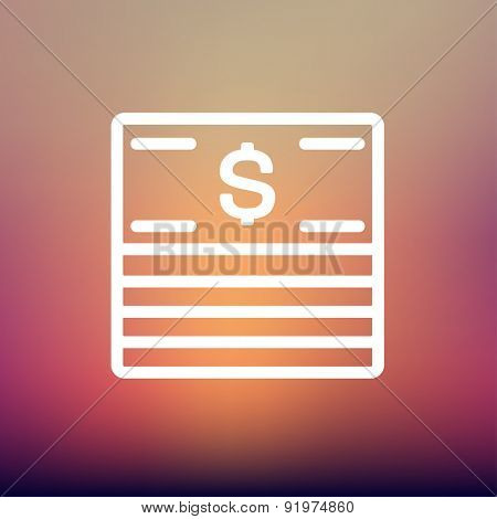 Stack of dollar bills icon thin line for web and mobile, modern minimalistic flat design. Vector white icon on gradient mesh background.