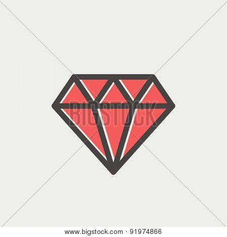 Dazzling diamond icon thin line for web and mobile, modern minimalistic flat design. Vector icon with dark grey outline and offset colour on light grey background.