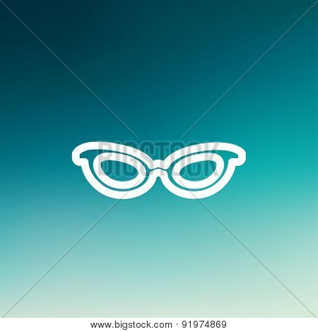 Retro cat eyeglasses icon thin line for web and mobile, modern minimalistic flat design. Vector white icon on gradient mesh background.