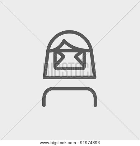 Girl wearing virtual relity headset icon thin line for web and mobile, modern minimalistic flat design. Vector dark grey icon on light grey background.