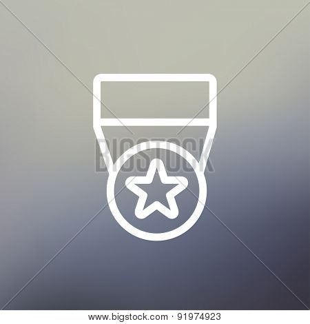 One star medal icon thin line for web and mobile, modern minimalistic flat design. Vector white icon on gradient mesh background.