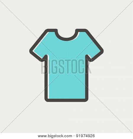 T-shirt icon thin line for web and mobile, modern minimalistic flat design. Vector icon with dark grey outline and offset colour on light grey background.