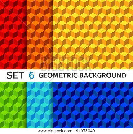 Set of geometric seamless backgrounds
