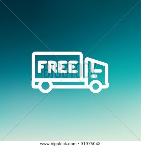 Free delivery van icon thin line for web and mobile, modern minimalistic flat design. Vector white icon on gradient mesh background.