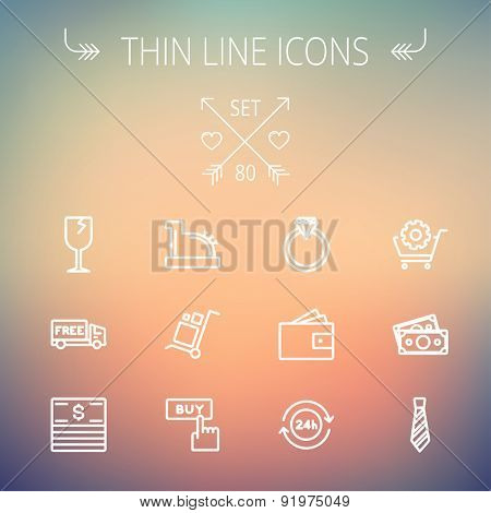 Business shopping thin line icon set for web and mobile. Set includes-broken glass wine, free delivery van, stack of money, vintage cash register, trolley, diamond ring, 24 hrs service, necktie icons
