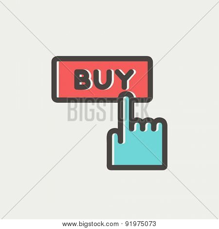 Finger to buy sign icon thin line for web and mobile, modern minimalistic flat design. Vector icon with dark grey outline and offset colour on light grey background.