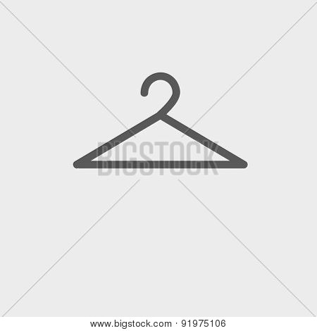 Hanger icon thin line for web and mobile, modern minimalistic flat design. Vector dark grey icon on light grey background.