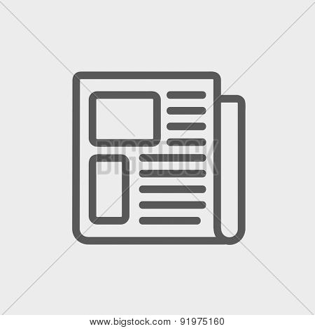 Newspaper icon thin line for web and mobile, modern minimalistic flat design. Vector dark grey icon on light grey background.
