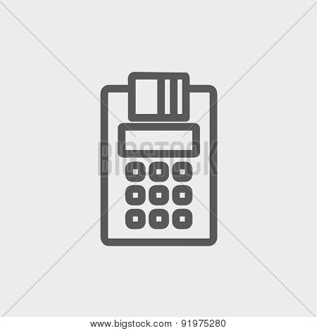 Credit Card Machine icon thin line for web and mobile, modern minimalistic flat design. Vector dark grey icon on light grey background.