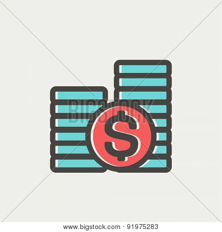 Stack of dollar coin icon thin line for web and mobile, modern minimalistic flat design. Vector icon with dark grey outline and offset colour on light grey background.
