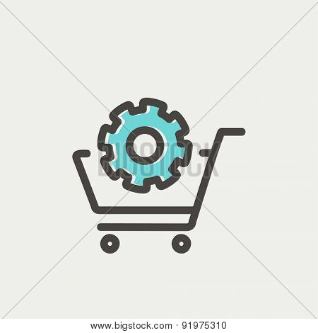 Shopping cart with gear icon thin line for web and mobile, modern minimalistic flat design. Vector icon with dark grey outline and offset colour on light grey background.
