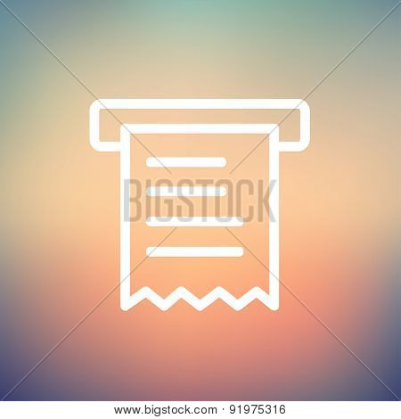 Paper towel with roller icon thin line for web and mobile, modern minimalistic flat design. Vector white icon on gradient mesh background.