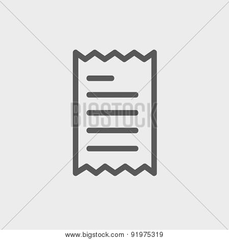 Paper with lines icon thin line for web and mobile, modern minimalistic flat design. Vector dark grey icon on light grey background.