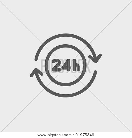 24 hrs service icon thin line for web and mobile, modern minimalistic flat design. Vector dark grey icon on light grey background.