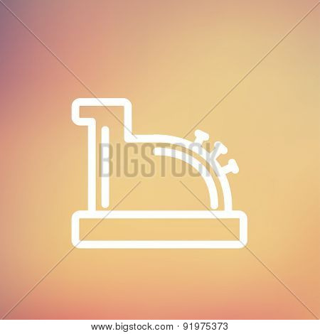 Antique cash register icon thin line for web and mobile, modern minimalistic flat design. Vector white icon on gradient mesh background.