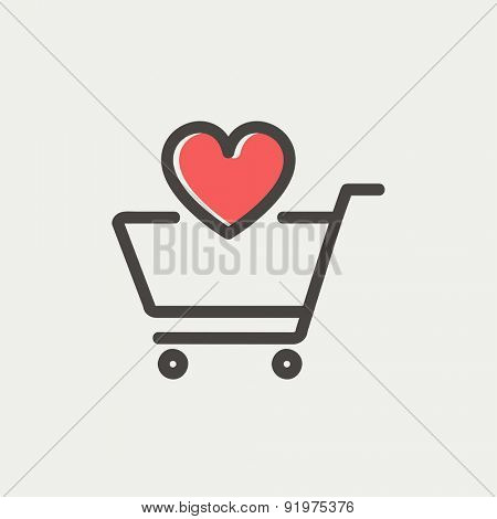 Shopping cart with heart icon thin line for web and mobile, modern minimalistic flat design. Vector icon with dark grey outline and offset colour on light grey background.