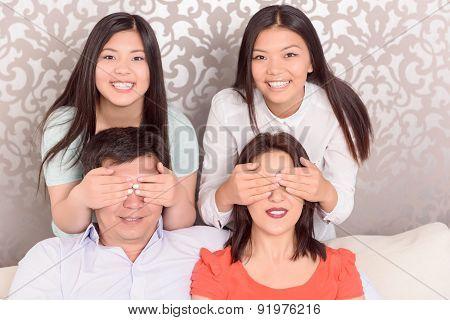 Portrait of Asian family