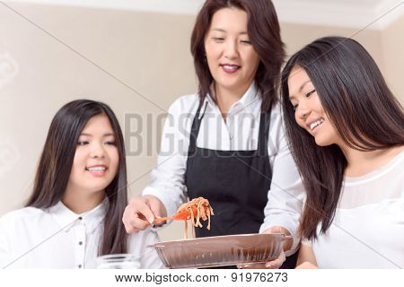 Mother caring of her daughters