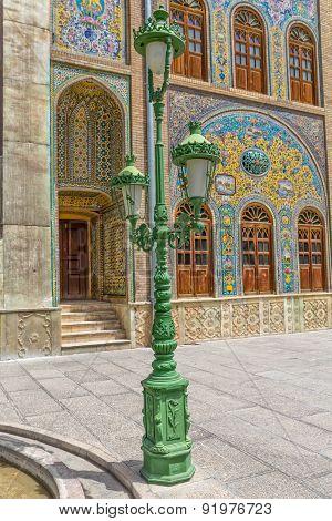 Golestan Palace green lamp