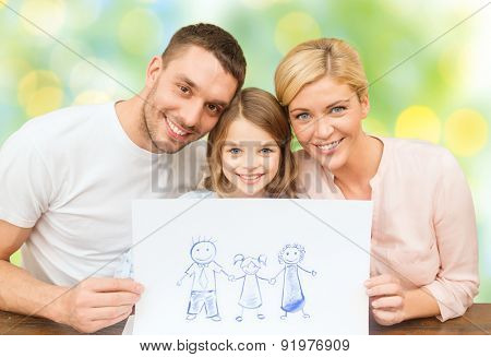 people, happiness, adoption and childhood concept - happy family with drawing or picture over green lights background