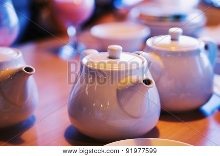 Teapots With Patches Of Light