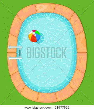 Illustration of top view pool