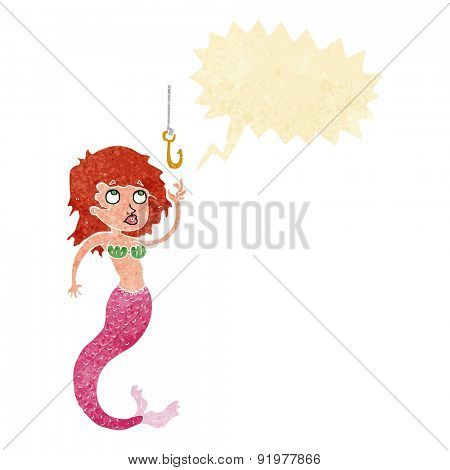 cartoon mermaid and fish hook with speech bubble