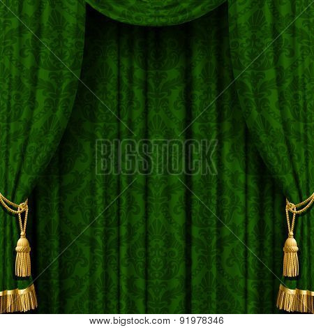 Green curtain with Baroque ornament. Square indoor background. Vector Illustration
