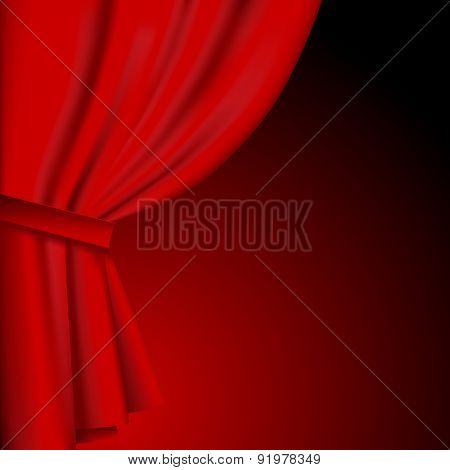 Dark background with a red curtain. Vector Illustration