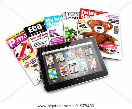3d stack of magazines and tablet