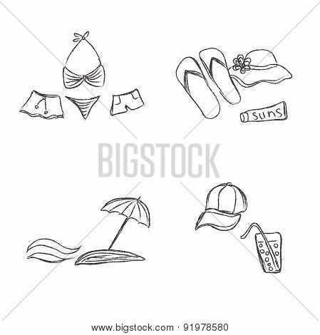 Set, flat, summer, rest, icons, combination, Traveling, tourism, vacation, theme, sketch