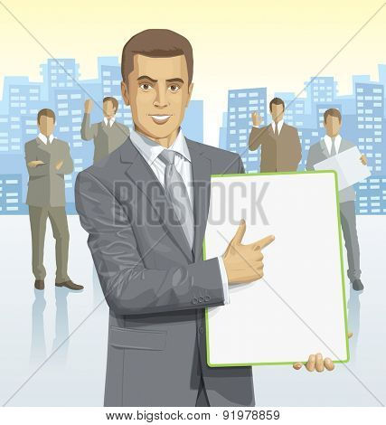 Vector business man with silhouettes of business people, with transparency shadows and city