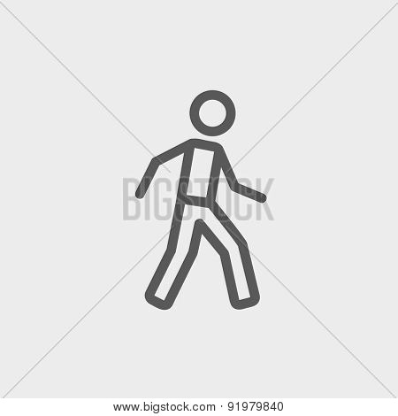 Walking exercise icon thin line for web and mobile, modern minimalistic flat design. Vector dark grey icon on light grey background.