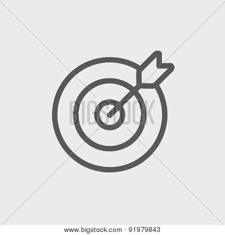 Arrow hit the target icon thin line for web and mobile, modern minimalistic flat design. Vector dark grey icon on light grey background.