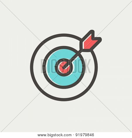 Arrow hit the target icon thin line for web and mobile, modern minimalistic flat design. Vector icon with dark grey outline and offset colour on light grey background.